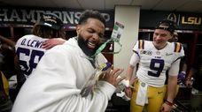 Odell Beckham Jr. celebrates in the locker room