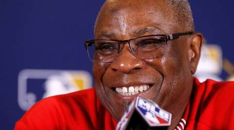 Nationals manager Dusty Baker talks during a news