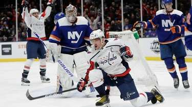 Washington Capitals' Alex Ovechkin celebrates after scoring a