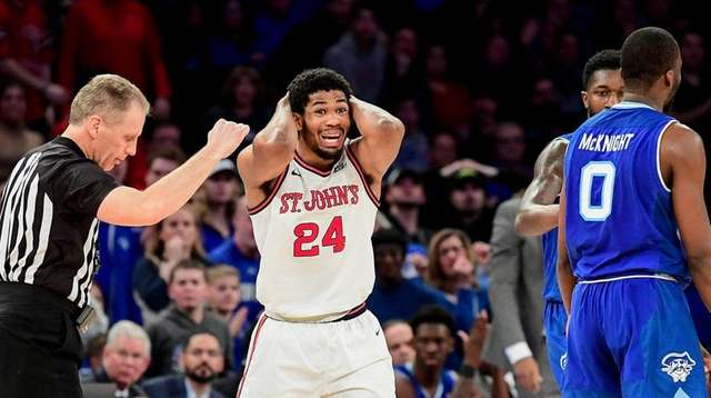 Nick Rutherford #24 of St. John's reacts to