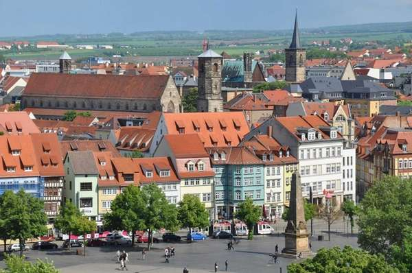 Erfurt, with its half-timbered, many-steepled medieval townscape and