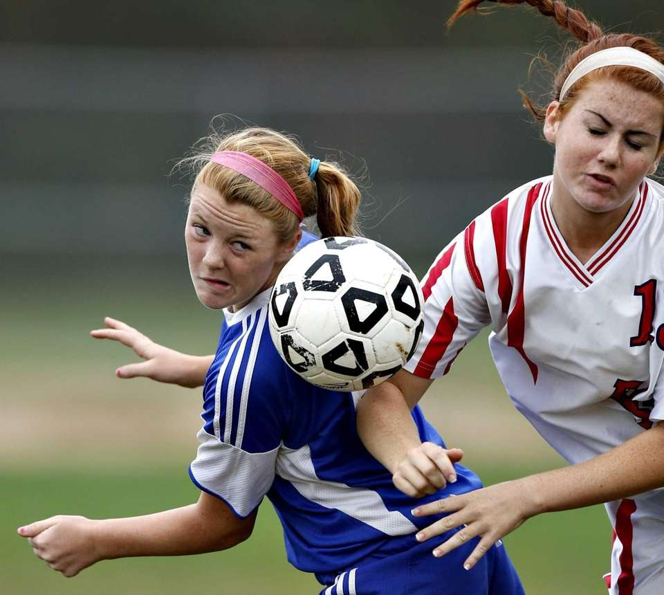 North Babylon's Dana Scheriff directs a header away