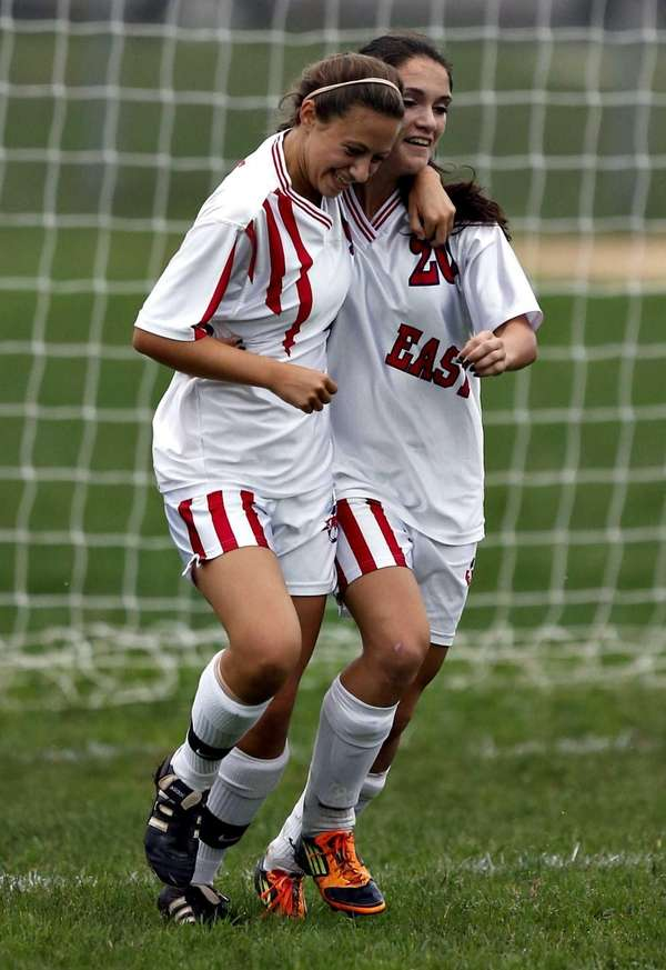 Smithtown's Gabby Albano and Erin Vernillo celebrate a