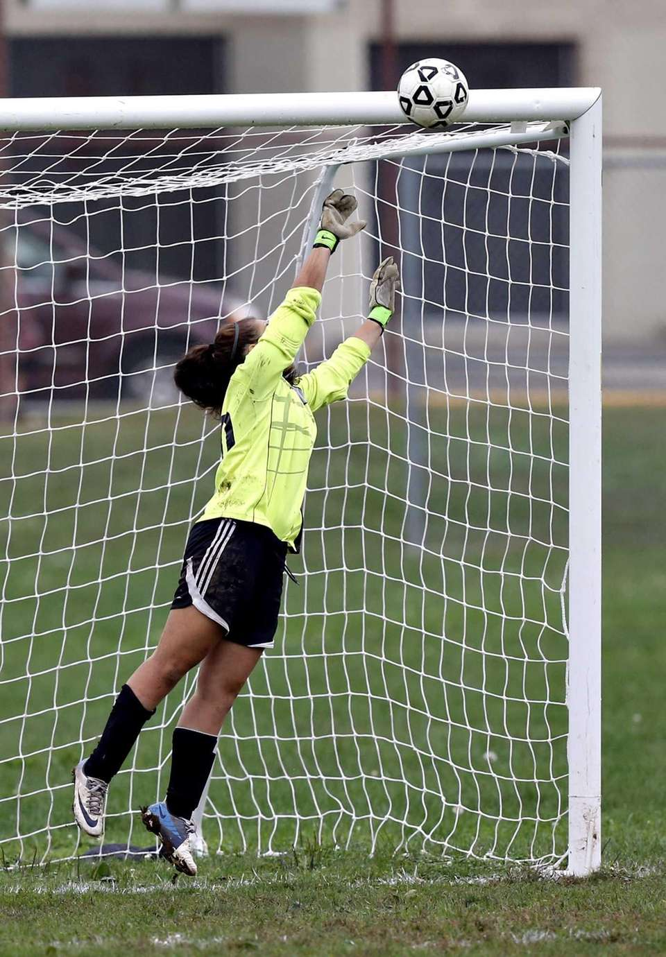 North Babylon goalkeeper Angela DiFazio is unable to