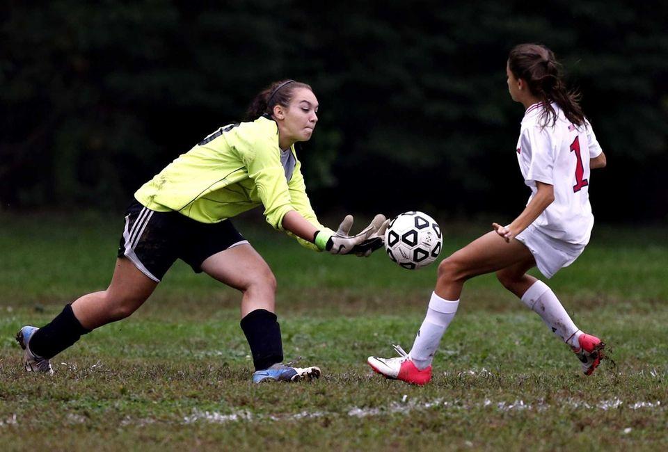 North Babylon goalkeeper Angela DiFazio tries to control