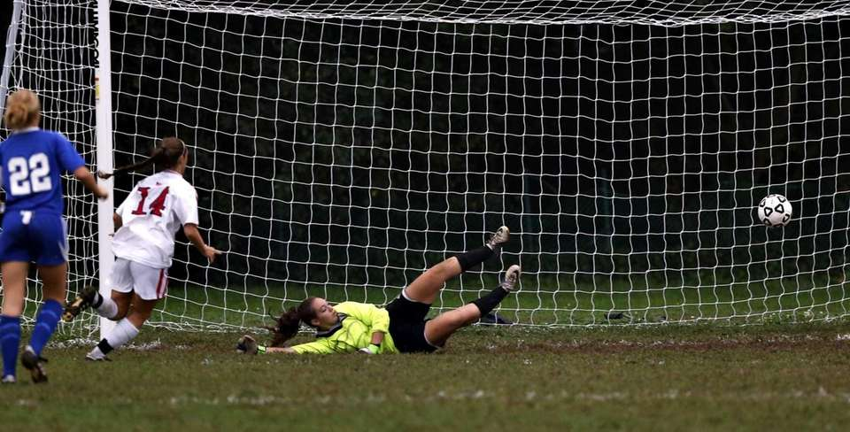 Smithtown's Gabby Albano sends a shot across the