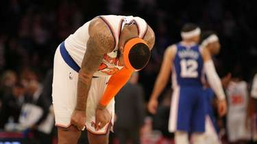 Knicks small forward Marcus Morris Sr. (13) reacts