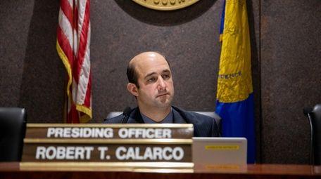 Presiding Officer Robert Calarco (D-Patchogue) calls a meeting