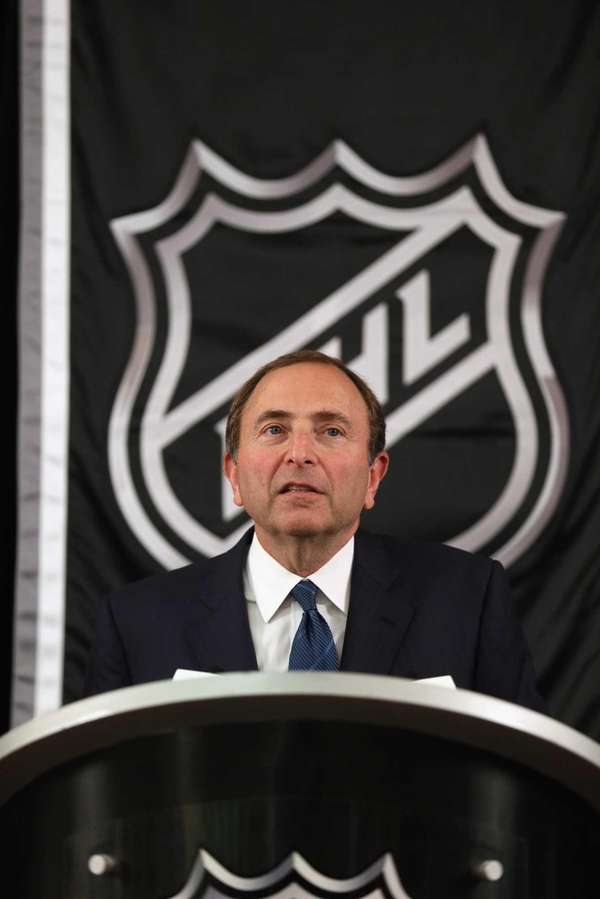 NHL Commissioner Gary Bettman speaks to the media