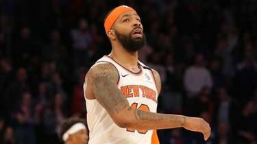 Knicks small forward Marcus Morris Sr. reacts after