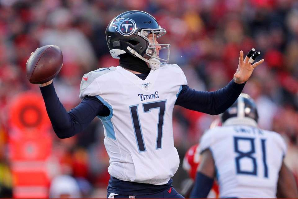 Tennessee Titans' Ryan Tannehill throws during the first