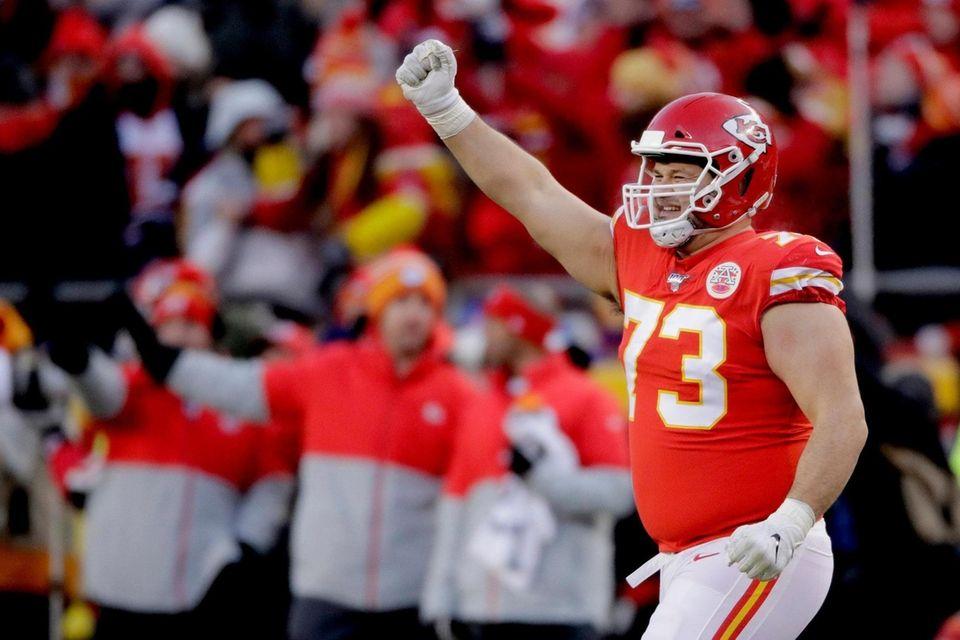 Kansas City Chiefs' Nick Allegretti celebrates during the