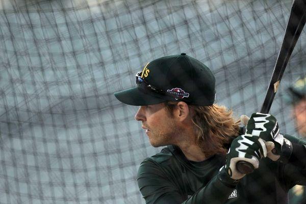 Oakland Athletics' Josh Reddick takes batting practice in