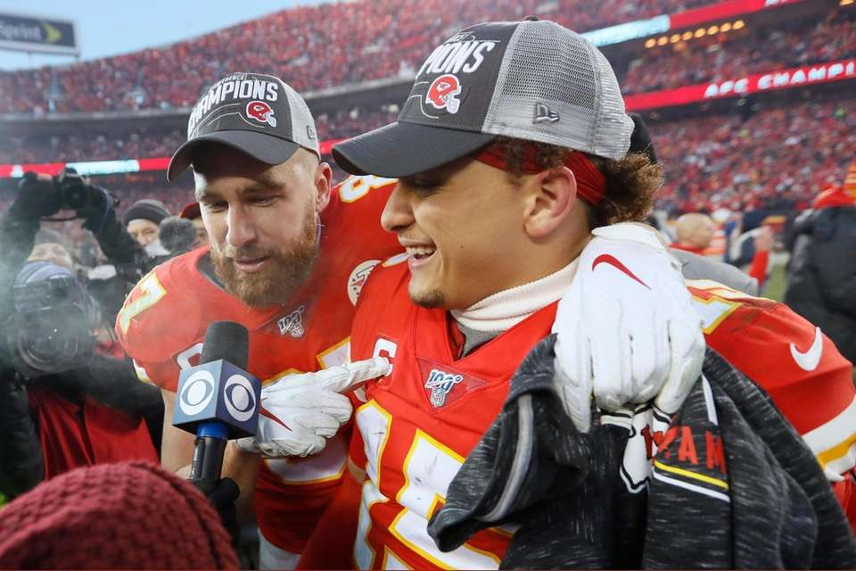 Kansas City Chiefs' Travis Kelce and Patrick Mahomes,