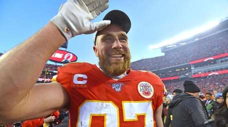 Kansas City Chiefs' Travis Kelce celebrates after the