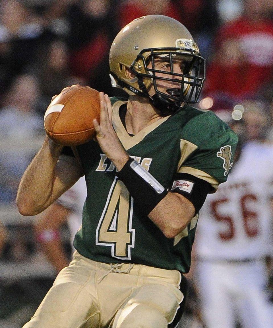 Longwood quarterback Kyle Corona sets up to pass.