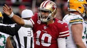 San Francisco 49ers quarterback Jimmy Garoppolo was the