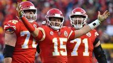 The Chiefs' Patrick Mahomes celebrates a touchdown pass