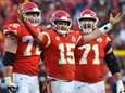 The Chiefs' Patrick Mahomes celebrates a touchdown pass