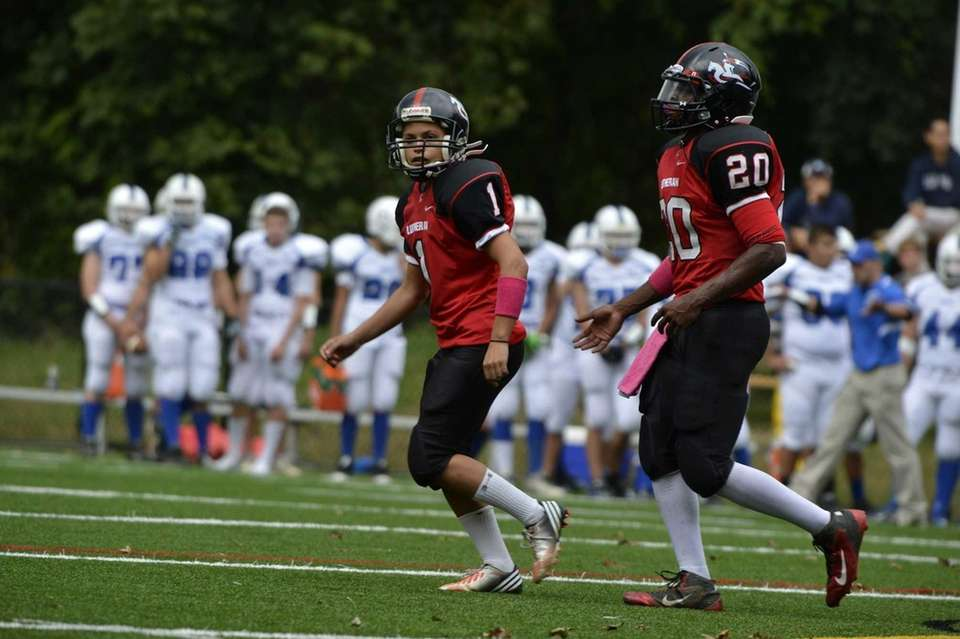 Long Island Lutheran female kicker Carolyn Dottino-Buenahora takes