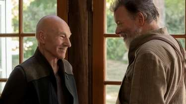 Patrick Stewart (left) as Picard and Jonathan Frakes
