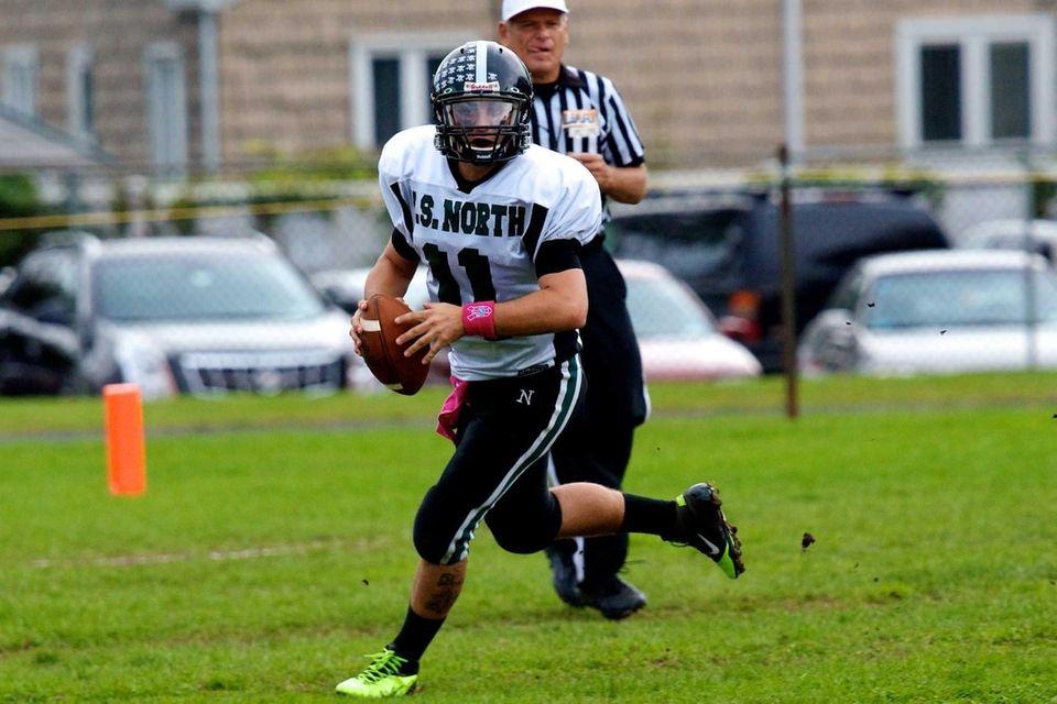 Valley Stream North quarterback Anthony Martelli scrambles out