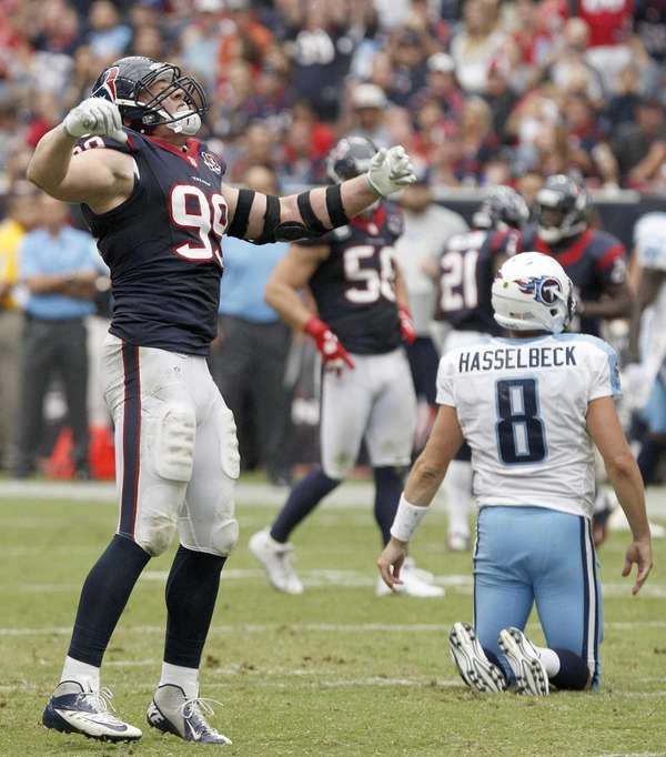 Houston Texans defensive end J.J. Watt celebrates after