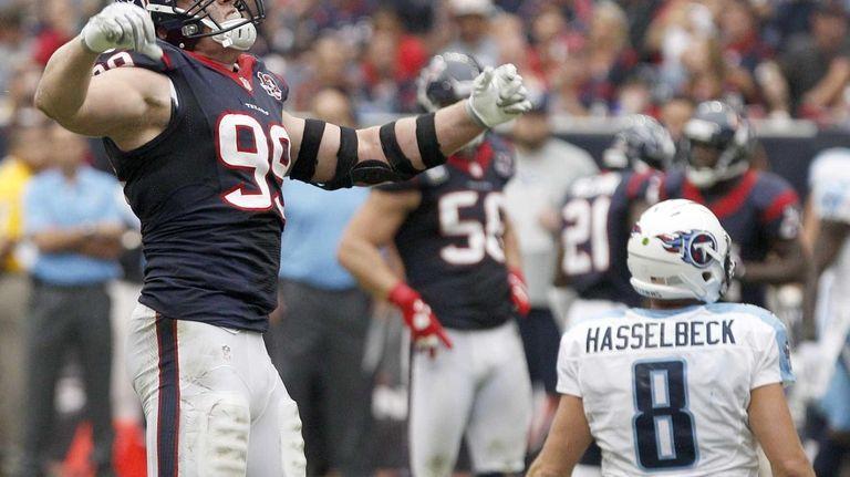 Houston Texans defensive end J.J. Watt celebrates after