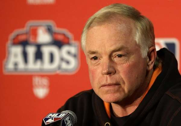 Baltimore Orioles manager Buck Showalter speaks at a
