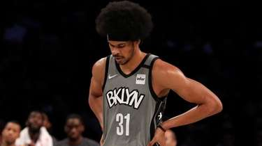 Jarrett Allen of the Nets reacts during the