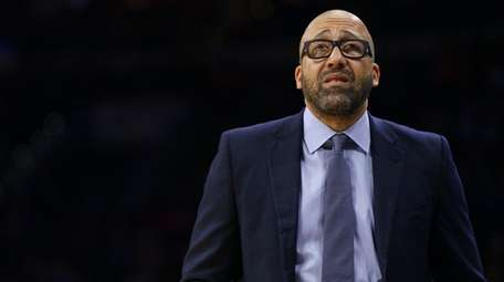 Then-Knicks head coach David Fizdale looks on during