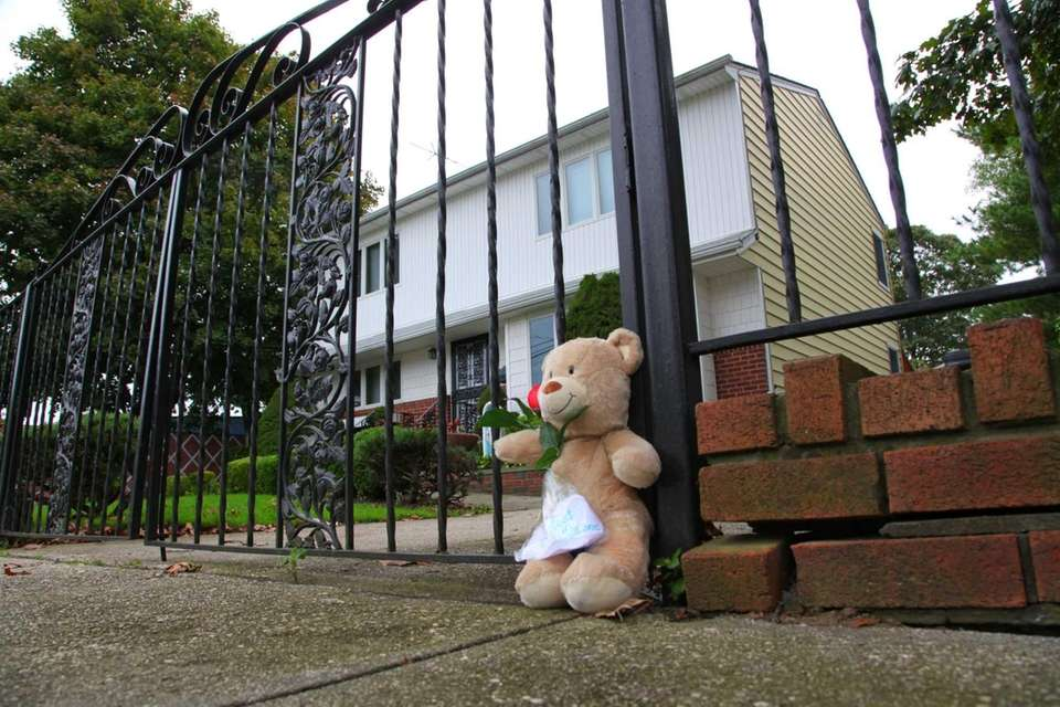 A bear sits outside the gate, where State