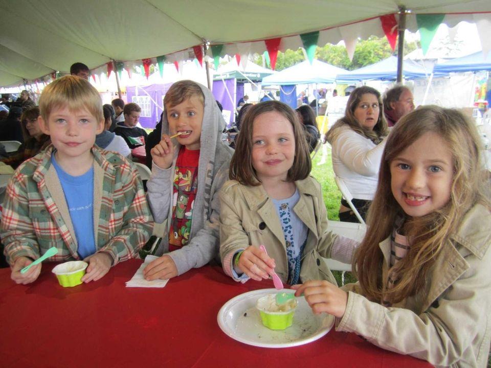 Christopher Stutt, 9, Scott Robinson, 8, Grace Stutt,