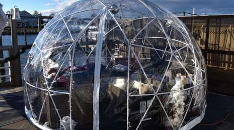 A pair of artificial igloos are available to