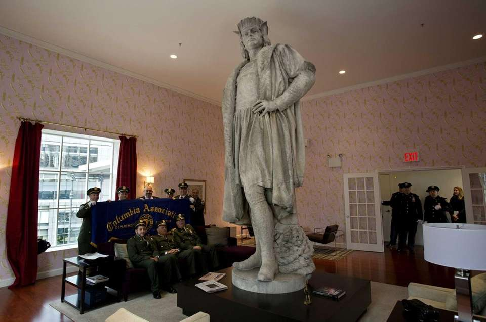 Gaetano Russo's 1892 sculpture of Christopher Columbus is