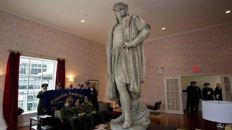 Gaetano Russo's 1892 sculpture of Christopher Columbus is