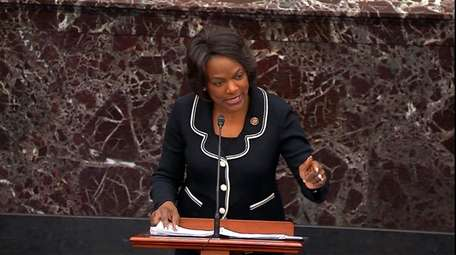 Impeachment manager Rep. Val Demings, D-Fla., speaks during