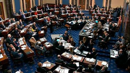 In this image from video, the Senate votes