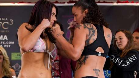 Undefeated Cat Zingano, left, at weigh-ins against bantamweight