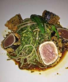 Crispy tuna with wakame cold soba noodles shoshito