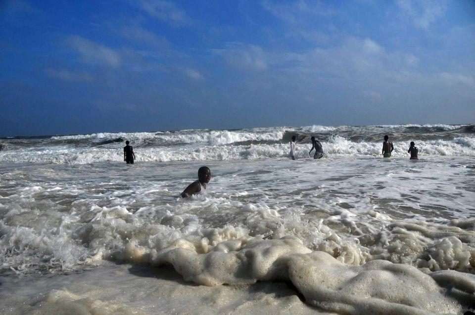 People swim at Jones Beach. (Sept. 8, 2012)