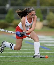 Sachem East midfielder Kaitlin Trombetta passes the ball