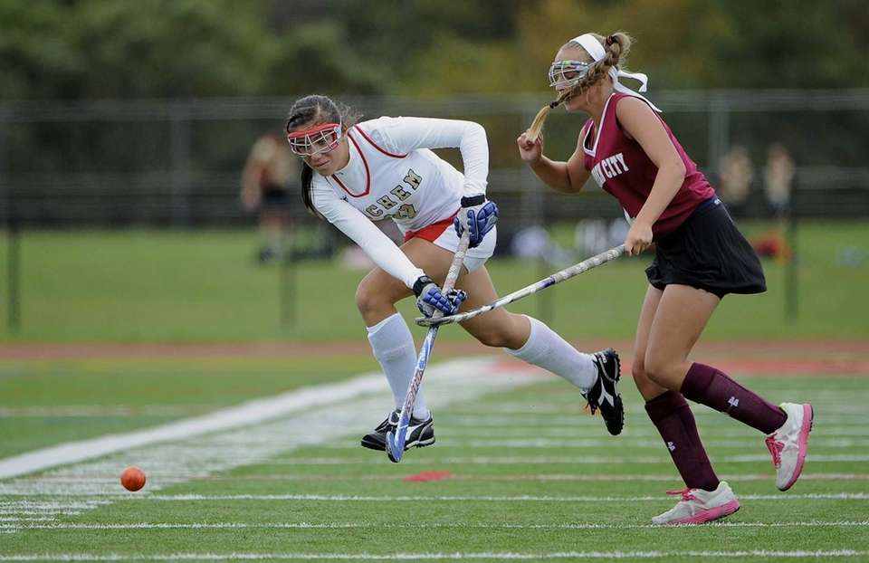 Sachem East midfielder Nikki Healy passes the ball