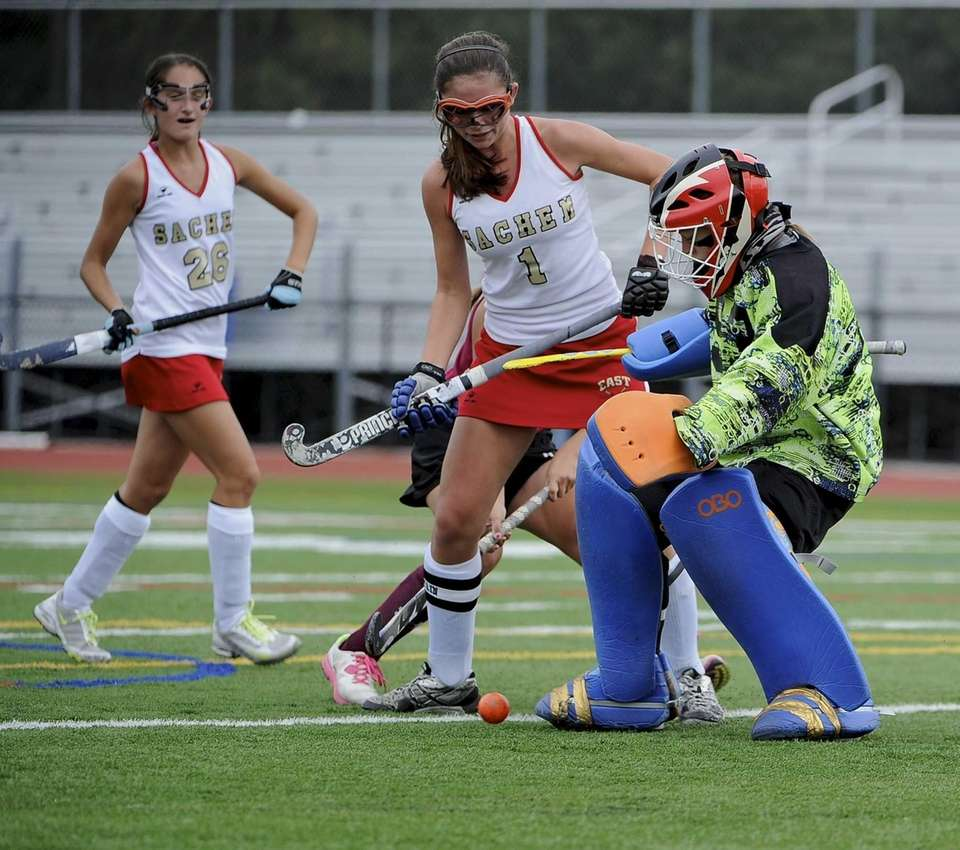 Sachem East goalkeeper makes a kick save against