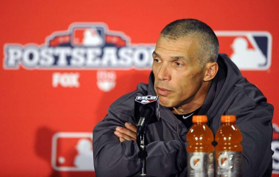 Joe Girardi speaks during a news conference before