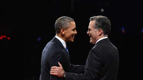 Republican presidential candidate Mitt Romney, right, and U.S.