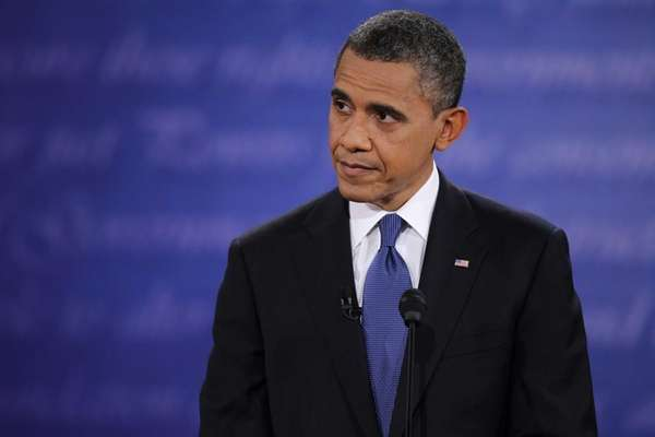 Democratic presidential candidate, U.S. President Barack Obama speaks