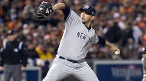 Andy Pettitte pitches during the American League Division