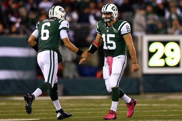 Mark Sanchez re-enters the game to replace Tim
