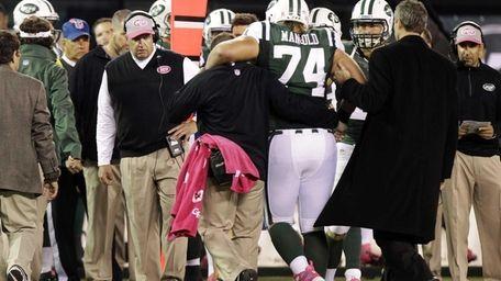 New York Jets head coach Rex Ryan watches